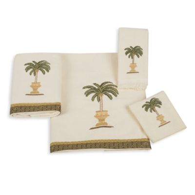 Avanti Date Palm Washcloth in Ivory