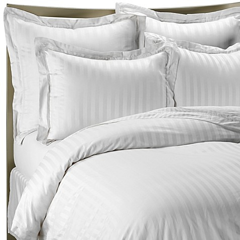 Wamsutta® 500 Damask Stripe Duvet Cover Set in White