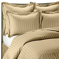 Wamsutta® 500 Damask Stripe Duvet Cover Set in Wheat