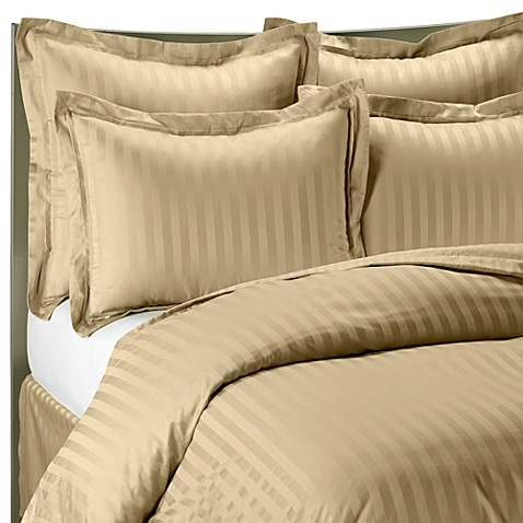 Wamsutta® 500 Damask Stripe Twin Duvet Cover Set in Wheat