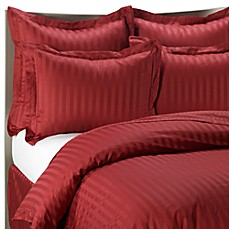 Wamsutta® 500 Damask Stripe Duvet Cover Set in Red