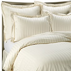 Wamsutta® 500 Damask Stripe Duvet Cover Set in Ivory