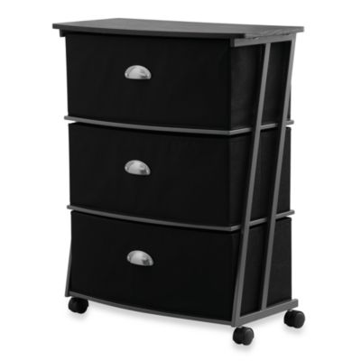 Wide 3 Drawer Storage Cart by Studio 3B™ in Black