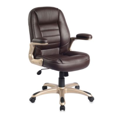 Faux Leather Medium Back Chair in Brown
