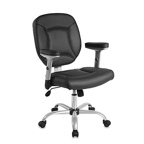 Faux Leather Task Chair with Adjustable Arms in Black