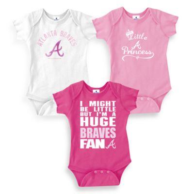 Team Shop > MLB Atlanta Braves Pink Bodysuits (Set of 3), 100% Cotton