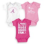 MLB Atlanta Braves Pink Bodysuits (Set of 3), 100% Cotton