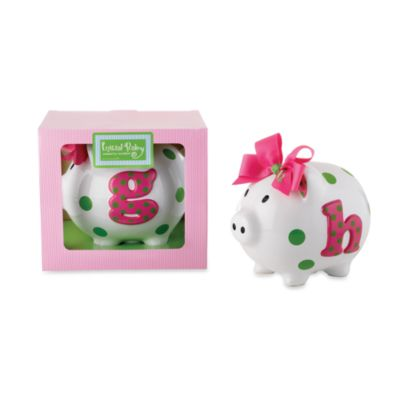 "Mud Pie™ Ceramic Initial Letter ""I"" Pink and White Piggy Bank"