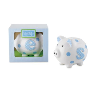 "Mud Pie™ Ceramic Initial Letter ""I"" Blue and White Piggy Bank"