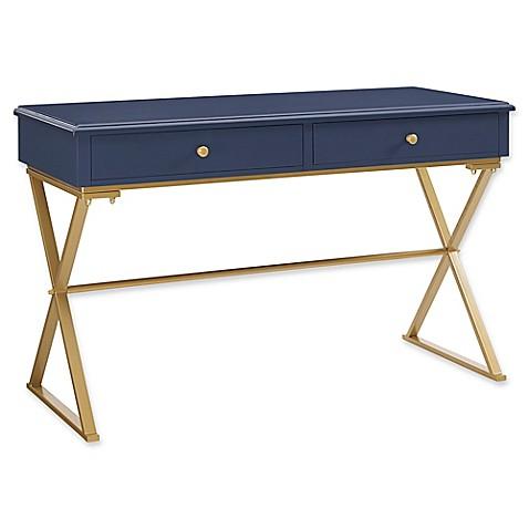 Linon Home Campaign Desk in Blue/Gold