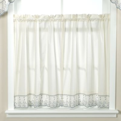 Abby Wedgwood Kitchen Window Curtain Tier Pair - 24-Inch