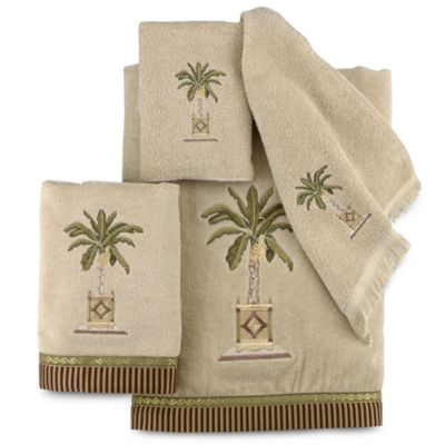 Avanti Banana Palm Washcloth in Linen