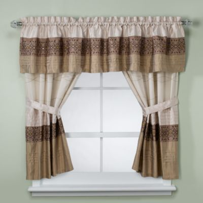 KAS Romana Bathroom Window Curtain Pair in Taupe