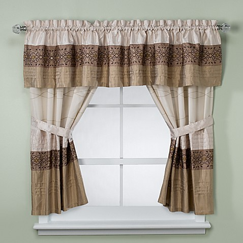 Kas romana bathroom window curtain pair in taupe bed for Bathroom window curtains