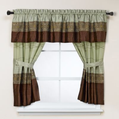 Romana Bathroom Window Curtain Pair in Green