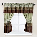 Romana Green Bathroom Window Curtains, 100% Cotton