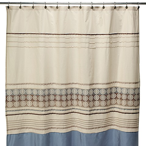 lyon blue and brown fabric shower curtain