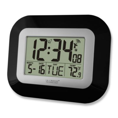 Black Sleek 9-Inch Atomic Clock