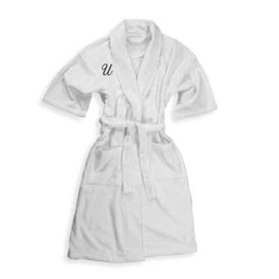"Monogrammed 100% Cotton Letter ""U"" Bathrobe in White"