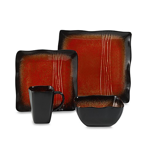 Baum Galaxy Square Dinnerware Collection in Red