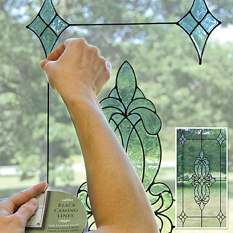 Stained Glass Window Cling Black Caming Line Bed Bath