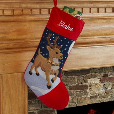 Reindeer Needlepoint Christmas Stocking