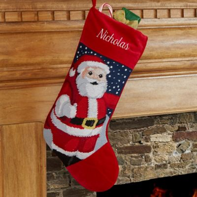 Santa Needlepoint Christmas Stocking