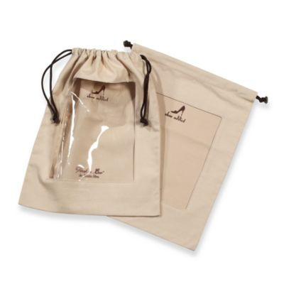 Clear Peek-a-Boo Window Khaki Shoe Bags (Set of 2)
