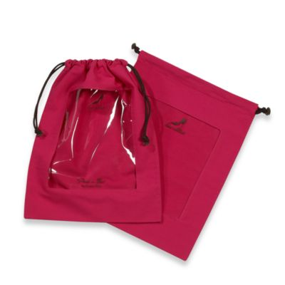 Clear Peek-a-Boo Window Fuschia Shoe Bags (Set of 2)