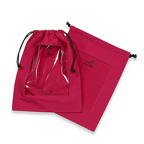Clear Peek-a-Boo Window Shoe Bag in Fuschia (Set of 2)