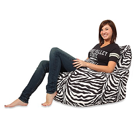fuf memory foam bean bag chair with zebra microsuede cover