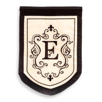 """Monogrammed Letter """"E"""" Fleur Outdoor Flag"""