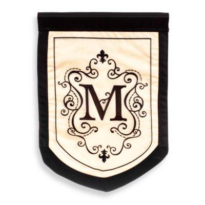 "Fleur Monogrammed Letter ""M"" Outdoor Flag"