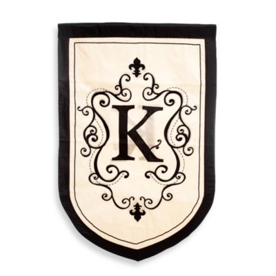 "Monogrammed Letter ""K"" Fleur Estate Outdoor Flag"