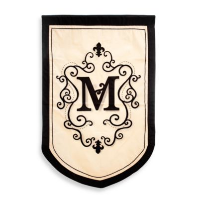 "Monogrammed Letter ""M"" Fleur Estate Outdoor Flag"