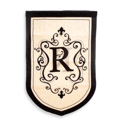 "Monogrammed Letter ""R"" Fleur Estate Outdoor Flag"