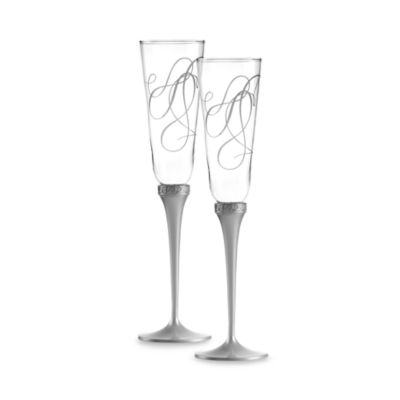 Mikasa® Love Story Silver Plated 7 1/2-Ounce Toasting Flutes (Set of 2)