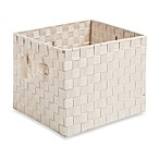 Woven Strap Crate Tote in Cream
