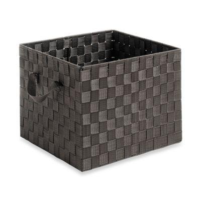 Woven Strap Crate Tote in Espresso