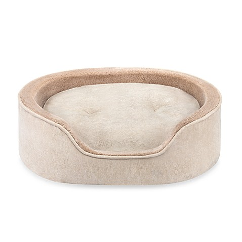 Enbossed Faux Suede Oval Cuddler Pet Bed