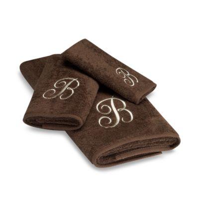"""Avanti Premier Ivory Script Monogram Letter """"A"""" Bath Towel in Mocha"""