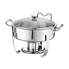 Tramontina® 5-Quart Round Stainless Steel Chafing Dish with Glass Lid