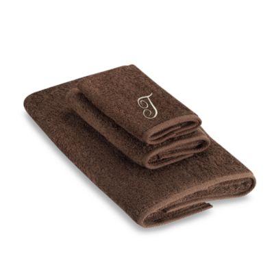 "Avanti Premier Ivory Script Monogram Letter ""T"" Fingertip Towel in Mocha"