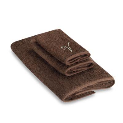 """Avanti Premier Ivory Script Monogram Letter """"V"""" Fingertip Towel in Mocha"""
