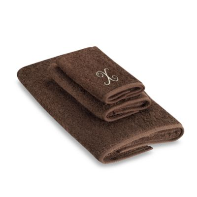 "Avanti Premier Ivory Script Monogram Letter ""X"" Fingertip Towel in Mocha"