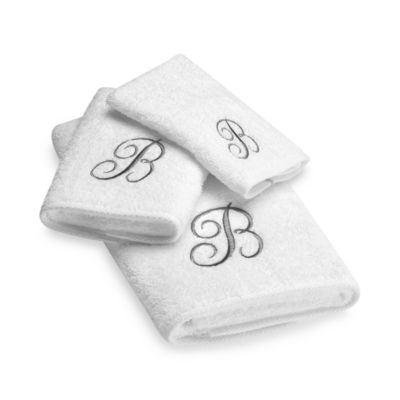 "Avanti Premier Silver Script Monogram Letter ""B"" Hand Towel in White"