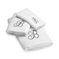 Avanti Premier Silver Script Monogram Bath Towel Collection in White