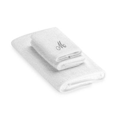 "Avanti Premier Silver Script Monogram Letter ""M"" Hand Towel in White"