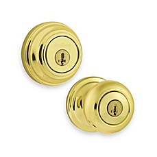 Juno Polished Brass Entry Door Knob and Single Cylinder Deadbolt Featuring SmartKey
