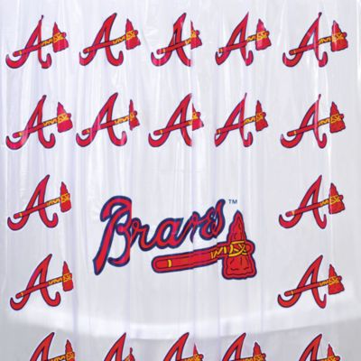 MLB Atlanta Braves 72-Inch x 72-Inch PVC Frosted Shower Curtain